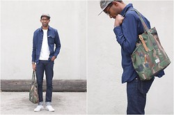 Roderick Hunt - Katin Usa Harvest 5 Panel, Herschel Supply Co Market Tote, General Quarters Indigo Ripstop Shirt, Simon Miller M002 Coast Rinse, Converse Chuck Taylor Low - Another Uniform Saturday