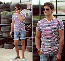 Daemon T - New Look T Shirt, Zara Shorts, River Island Sunglasses - Aztec print