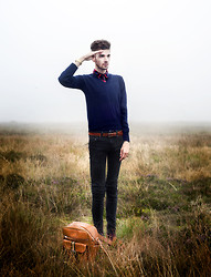 Matt Fielding - Garland (Vintage) Vintage Navy Jumper, Topshop Tartan Shirt, Vintage Tan Belt, Topman Black Skinny Jeans, Vintage Tan Satchel, Casio Gold Watch, New Look Tan Mocassins - Mariner