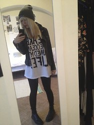 Rikki Battle - Heart In Hand (Band) Beanie, Ted Baker Leather Jacket, We Are The Ocean (Band) Wato Ruined My Life Xl T Shirt, Topshop Wet Look Leggings, Dr. Martens 8 Hole - We Are The Ocean Ruined My Life