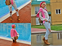 Gina Vadana - H&M Hat, Tommy Hilfiger Pink Blouse, Zara Shirt, Zara Boots, Vintage Store Purse, H&M Jeans - PINK MELANCHOLY