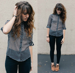 Tonya S. - Guess? Checkered Top, Bdg High Waist Pants, Oxfords - Checkered