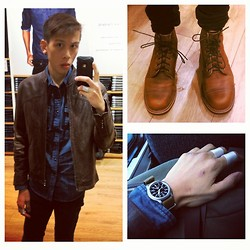 Tim Tsai - Helium Vintage Leather Jacket, Chippewa Homestead Boots, Seiko 5 Automatic, Insight Moto Skinny Jeans, American Eagle Indigo Chambray Shirt - A leather kind of day.
