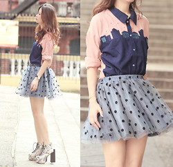 Mayo Wo - Choies Embroidered City Print Shirt, Romwe Polka Dot Tulle Skirt, Choies Floral Booties - Nighty night