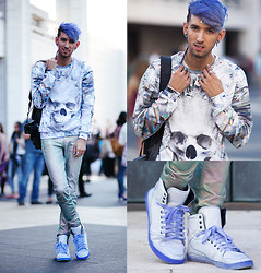 Bobby Raffin - Mr. Gugu Shattered Diamond Skull Pullover, Zara Diy Dyed Sneakers - DIY Bluish Violet Dye