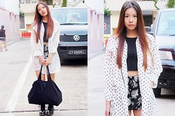 Brenda Tok - Polka Dots Outerwear, Lookbook Store Cropped Top, Cotton On Casual Floral Shorts, Karmaloop Bag, Dr. Martens Doc Marts - Breathless