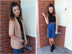 Charnelle Gardiner - Frontrowshop High Neck Crop Top, Primark Black Ankle Boots, Charity Shop Tartan Shorts, Charity Shop Vintage Jacket - Vintage Euphoria