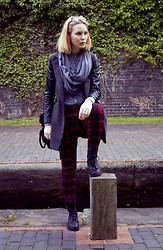 Monica J - Primark Trousers, H&M Boots, Leather Coat, United Colors Of Benetton Scarf - SCOTTISH ELEMENTS