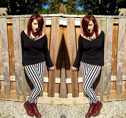 Reba H - Vintage Sweater, H&M Striped Pants, Doc Marten's Combat Boots, Urban Behaviour Eagle Necklace - Particular Rubbish