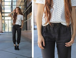 Carly S - Lush White Leather Top, Zara Gray Lounge Pants, Urban Outfitters Black Booties - My Sunshine