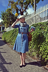 Catie Beatty - Oasap Shirt Dress, American Deadstock Sunglasses - Chambray Shirt Dress