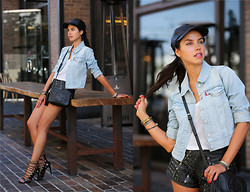 Annabelle Fleur - Levi's® Jacket, Shopbop Leather Hat, Aquazzura Sandals, Gucci Bag - Levi's #MAKEOURMARK Look 2