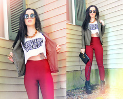 ♡ SACPUN ♡ - Brandy Melville Usa 'Gangsta Rap Made Me Do It' Crop Top, La Hearts Super High Rise Pants, High Top Creepers, Green Leather Jacket - Gangsta rap made me do it