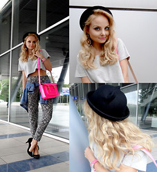 Violetta Privalova - Asos Hat, Asos Top, Satchel Bag, Asos Heels, New Look Pants, Asos Earrings, Edc By Esprit Shirt - C♥T H♥T
