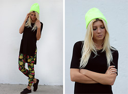 Vicky Kurkach - Asos Beanie, Cheap Monday T Shirt, Kuccia Leggings, New Look Plimsolls - Hello, Hi, Goodbye