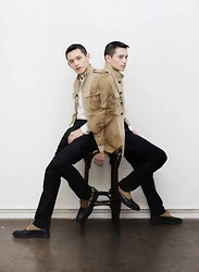 Nic Liu - Dries Van Noten Shoes, J Compton Sons & Webb Military Jacket - A pale sandy fawn colour....