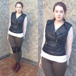 Reba H - Forever 21 Moto Vest, Forever 21 Lace Shirt, Forever 21 Olive Leggings, Doc Marten Combat Boots - Fall Over the Season
