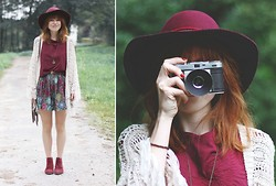 Patty . - Minkpink Dress - BURGUNDY HEART