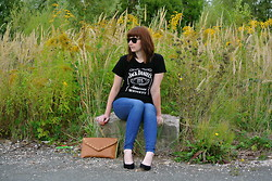 Maja R. - Lacoste Sunnies, Jd T Shirt, H&M Jeans, Topshop Heels - For a different view