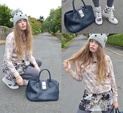 Hayley Mitchell-Gardner - New Look Floral Jumper, New Look Floral Dress, New Look Grey Tights, Topshop Wedged Floral High Tops, Market Abroad Navy Blue Handbag, River Island Teddy Beanie Hat, Chanel Legende Lipstick - Be Fun And Playful