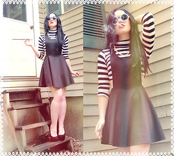 ♡ SACPUN ♡ - La Hearts Knit Skirtall Dress, Candie's Velvet Heels, Black And White Striped Crop Top, Zerouv Pearl Round Sunglasses - Holly godarkly