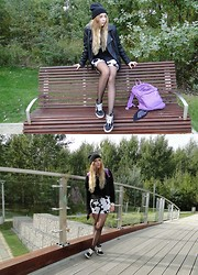 Ewa S - Jansport Backpack, Vans Sk8hi, Zara Shorts, Topshop Sweater, New Look Jacket - Holding on to you
