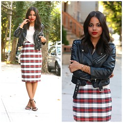 Erica Lavelanet - Nasty Gal Moto Leather Jacket, Left On Houston Knit Tank, S.I.C Couture Plaid Pencil Skirt, Zara Two Strap Heels - Pop of Plaid