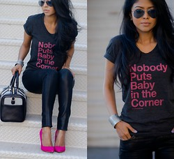 Sheryl L - Nobody Puts Baby In The Corner Tshirt, Bess Pumps In Hot Pink, Rovi Moss Satchel - NOBODY PUTS BABY IN THE CORNER