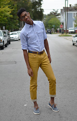 Joshua McLeod - Express Button Down, Bullhead Mustard Denim, Polo Ralph Lauren Boat Shoes, Gap Belt - Sunshine on a Rainy Day