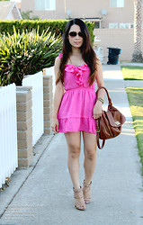 Kimberly Luu - Hollister Pink Dress, Marc By Jacobs Tan Bag, Papers & Peonies Gold Claw Bracelet, Dsw Nude Studded Heels - Summer in SoCal #casual #outfit
