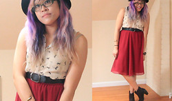 Bernadette Le - Forever 21 Midiskirt, Belt, Sway Horse Print Top With Peter Pan Collar, Target Boots - Maroon Midi