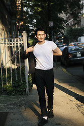 Nic Liu - H&M Trousers, Muji T, H&M Black Shirt, Vans Shoes - Mean Streets of NYC
