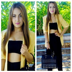 Maria Pasiali - Bershka Black Crop Top, Black Classic Pants, Blanco Handbag, Yellow Blazer - Happy girls are the prettiest