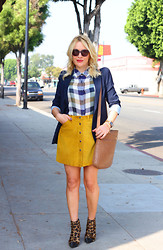 Zia Domic - Zara Navy Blazer, Madewell Checked Blouse, United Colors Of Benetton Suede Vintage Skirt, Via Spiga Leopard Print Booties, Tory Burch Laptop Bag - Disorder
