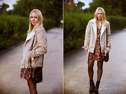 Lena R.F. - H&M Shearling Jacket, H&M Floral Dress, Pieces Purse, Cheap Monday Boots - Fall florals