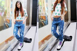 Brenda Tok - Diy Weed Croppd Top, Ripped Denim Jeans, Creepers - Weedy weedz