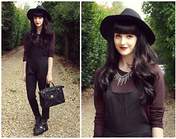 Kayleigh B - Black Dungarees, Urban Outfitters Satchel, Topshop Sweater - All Along The Watchtower