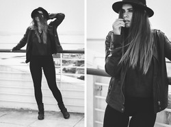 Inês M - H&M Hat, Vintade Leather Jacket, H&M Top, Zara Biker Boots - Ode to Black