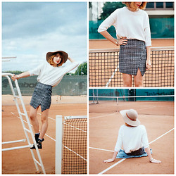Typhaine - Frontrowshop Skirt, Mango Sweater, Choies Shoes, Cyrillus Hat - TENNIS COURT