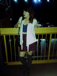 Jessie Duker - Pacsun, Vintage Red Plaid Skirt, Calvin Klein Knee Highs - Oh Hell, Heavy Bells