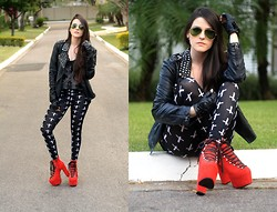 Fernanda Minillo - Qbela Legging, Factoria Hellbound, Forever 21 Spiked Moto Jacket - Sippin a Drink and Feelin Fine