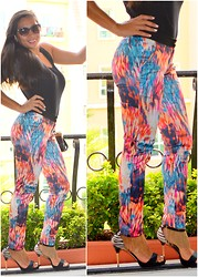 Kero P - New Yorker Silk Print Pants, River Island Chain Sandals - Bold, Bright, and Fiery