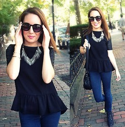 Meg Davis - H&M Necklace, H&M Leather Sleeved Top, Forever 21 Sunnies, Lulu's Boots - Beantown