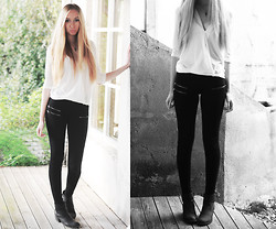 Martine Fimland - Cubus White Blouse, Bik Bok Black Pants, Forever 21 Arrow Necklace - So easy
