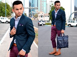 Paul Ramos - H&M Navy Blazer, New Look Dress Shirt, Retro By Spalsh Burgundy Trousers, Zara Pocket Square, Levi's® Brown Leather Belt, Iconic Store Tassel Loafers, Balenciaga Inspired Murse - KOTON A/W13 Event Look