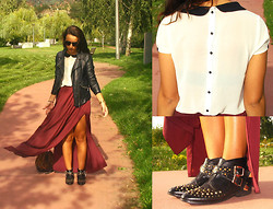 Catarina Santos - Zara Faux Leather Jacket, Zara Maxi Skirt, Blanco Animal Printed Bag, Zara Peter Pan Collar Shirt, Pimkie Studded Boots - There is always a crack of light in the darkness. Find it.