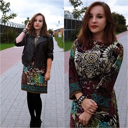 Marta O - Tk Maxx Floral Dress, Vintage Leather Jacket - Stronger than yesterday.