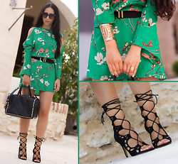 WOWS . - Oasap Oriental Print Dress, Oasap Cutout Golden Cuff, Jessica Buurman Lace Up Scalloped Heels: Ayoka - ORIENTAL GREEN DRESS + Giveaway ❢❢❢