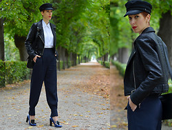 Borjana R. - Zara Faux Leather Jacket, Zara High Waist Trousers - High waist pants