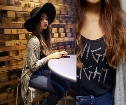 Samantha San Antonio - H&M Black Floppy Hat, Forever 21 Long Bat Wing Cardigan, Silence & Noise High Waisted Jeans, Pacsun Midnight Delight Top - There is a house in new orleans they call the rising sun.
